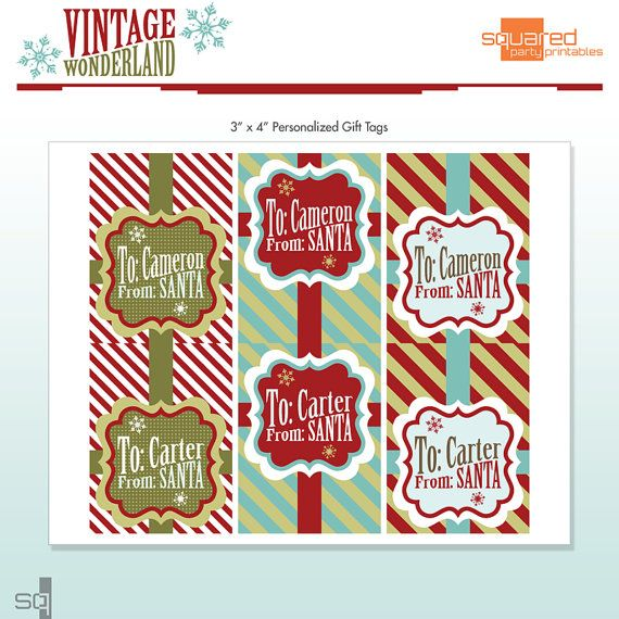 Santa gift tags customized with name personalized diy santa gift tags customized with name personalized diy printable package vintage winter wonderland do it yourself print kit solutioingenieria Image collections