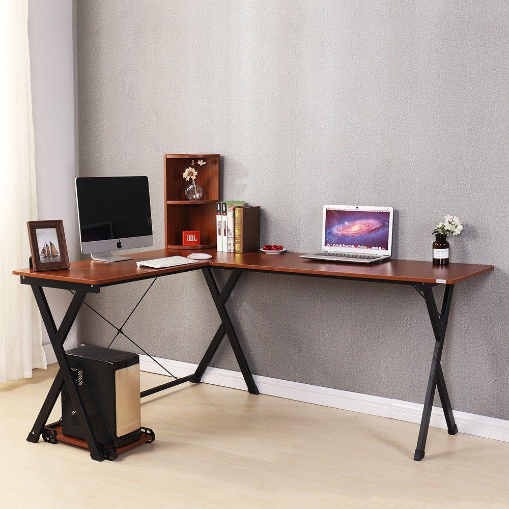 Amazon Com Dland Computer Desk L Shaped Home Office Pc Laptop Desk Triangular Fixed X Type Frame Corner Table Workstation With Desk Corner Table Laptop Desk