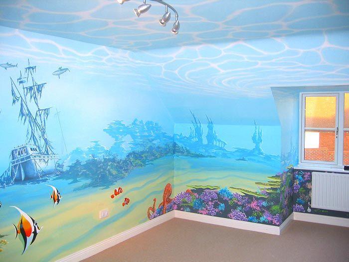 رسام غرف اطفال غرفه اطفال رسم بحر Ocean Mural Sea Murals Ocean Themed Nursery