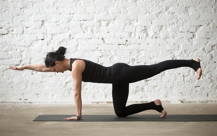 herunterladen hintergrundbild yoga training fitness studio posieren frau yoga bungen. Black Bedroom Furniture Sets. Home Design Ideas