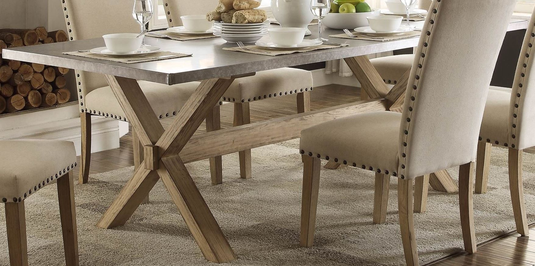 Luella cool weathered oak zinc top dining table