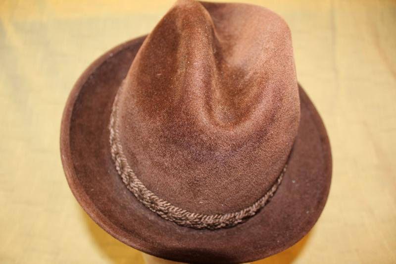 db9d8000d51 Vintage Stetson Sovereign Dark Brown Trilby Fedora Velour Size 7 1 8 ...