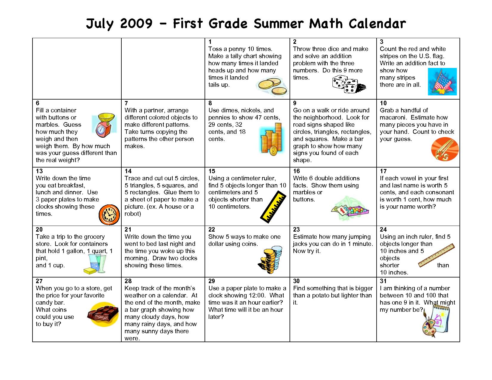 Summer Activity Calendar Math First Grade July