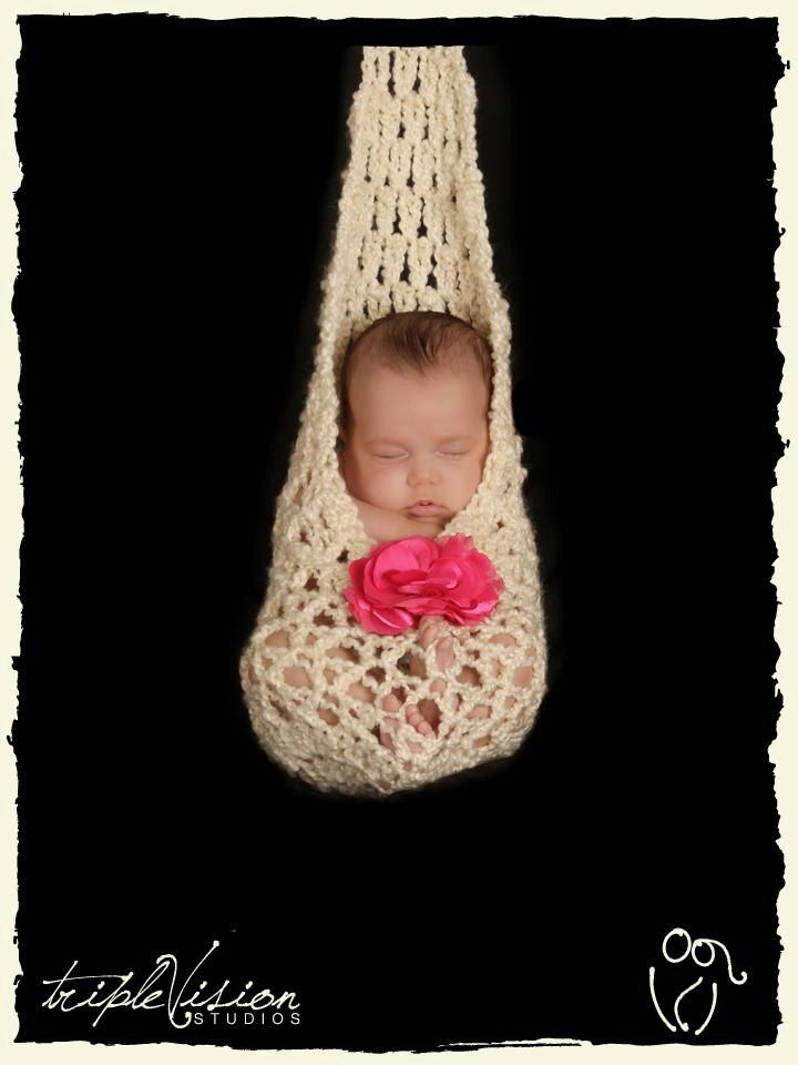 Newborn stork sack pouch haning hammock style crochet photo prop 30 00 via etsy