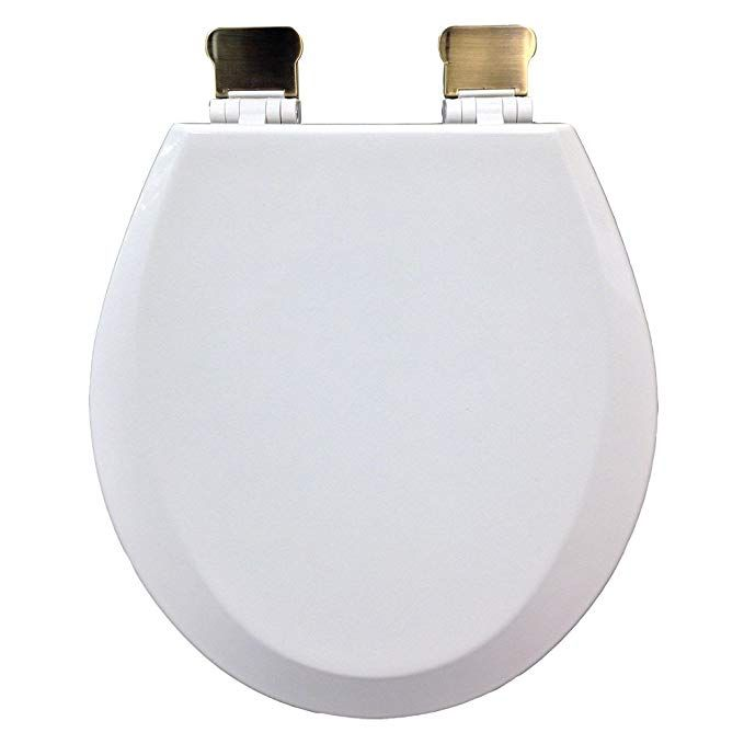 Comfort Seats C3b4r300amab Round Premium Molded Wood Toilet Seat With Antique Brass Hinges White Review Brass Hinges Toilet Seat Wood Toilet Seat