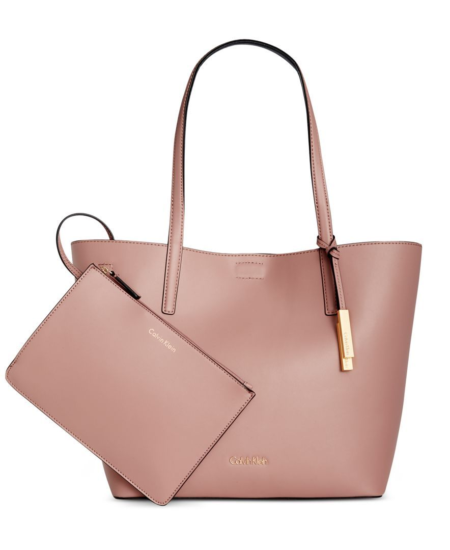 Calvin Klein Leather Reversible Tote with Pouch | Calvin