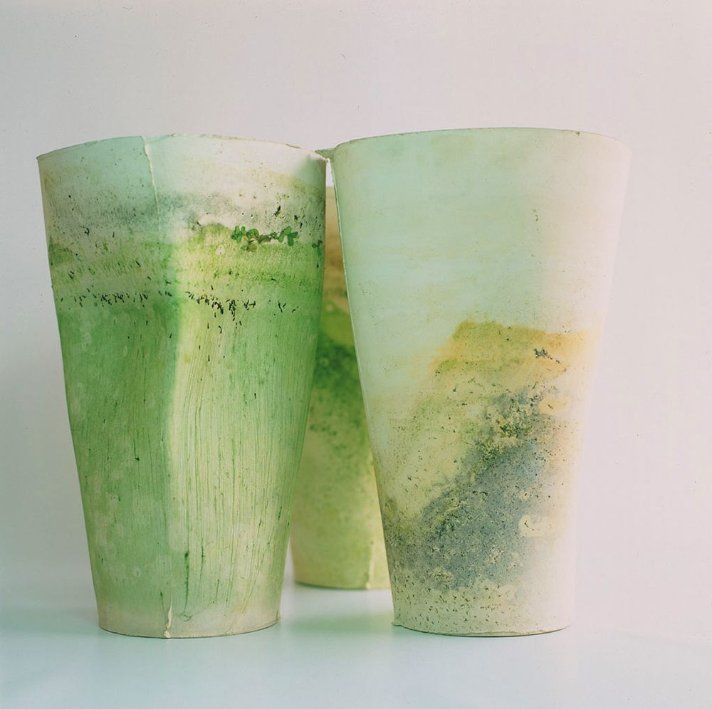 martin azua natural finish ceramic vase moss