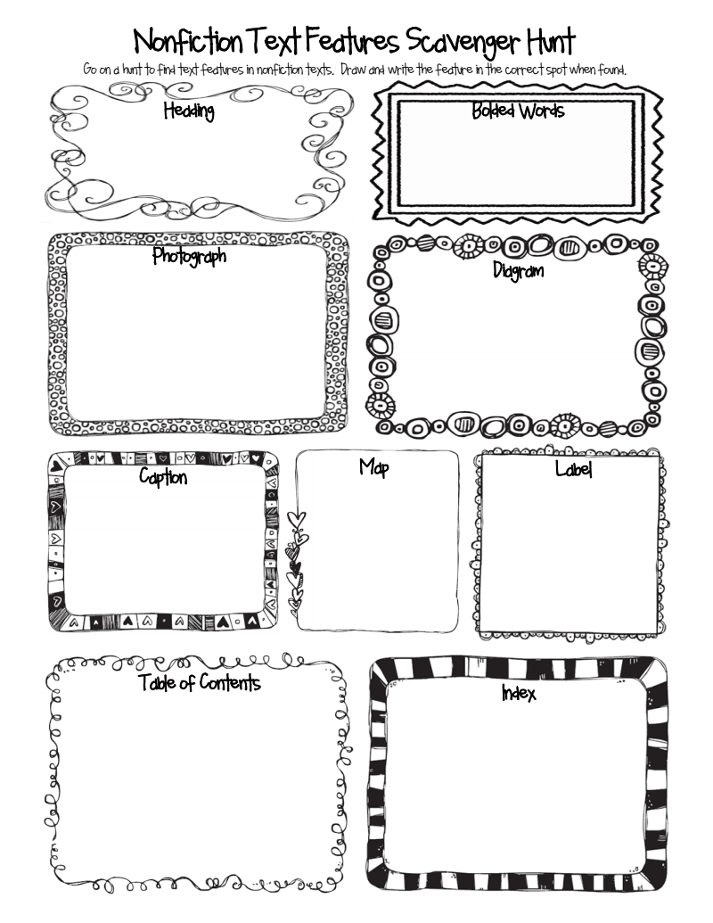 Workbooks text features reading comprehension worksheets : Nonfiction Text Features Scavenger Hunt.pdf - Google Drive ...
