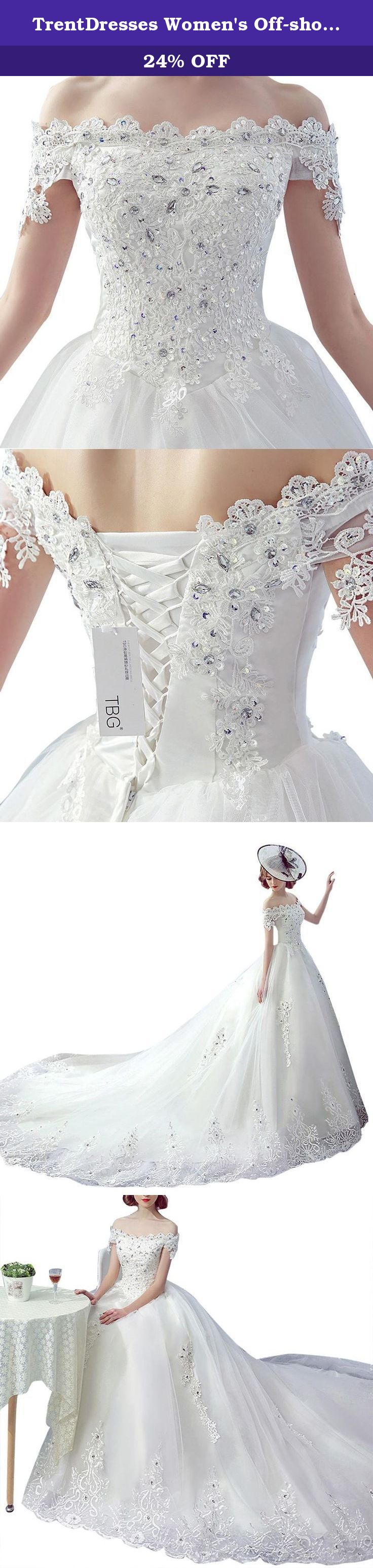 TrentDresses Womens Strapless Applique Wedding Dress