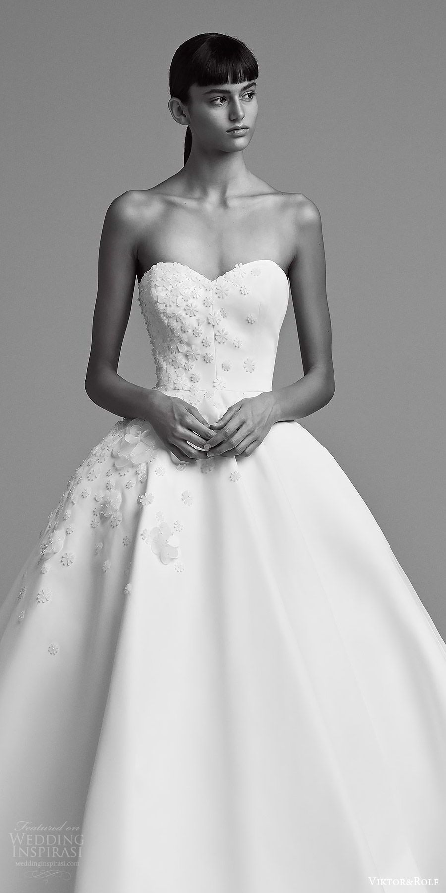 Viktor and rolf fall bridal strapleass sweetheart embellished