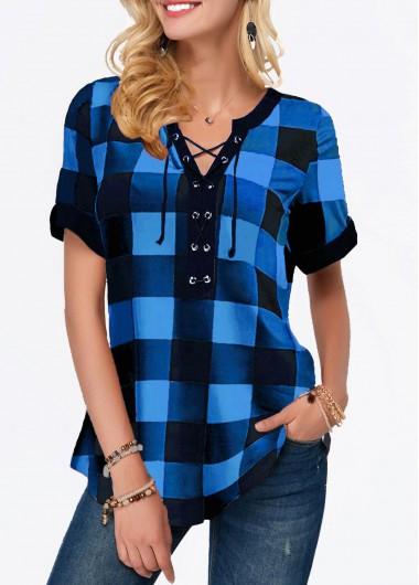 V Neck Lace Panel Three Quarter Sleeve Blouse Trendy Tops Three