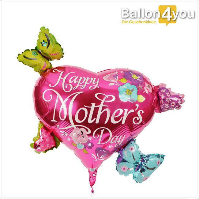 Muttertagsballon mit Herzen und Schmetterlingen     Einer der größten Ballons den wir zum Muttertag in unserem Sortiment haben. An dem breiten Herzballon befinden sich weitere kleine Herzen und Schmetterlinge. Alle zusammen sind bereits heliumgefüllt reisefertig. Wenn Sie es wollen, legen wir noch etwas Schokolade bei. Fehlt nur noch eine stolze Mama welche dieses Bukett zum Muttertag verdient hat. Bestimmt zählt Ihre dazu oder etwa nicht?