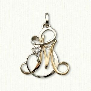 0e9e29c3cff3af Custom Two Tone Initials SM Monogram Pendant set with customers diamond