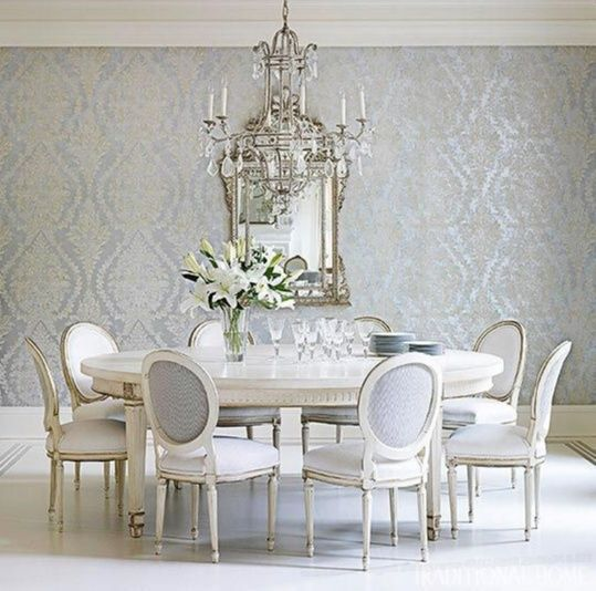 Elegant Tableware For Dining Rooms With Style: Elegant Dining Room Set. Wonderful Wall Coverings