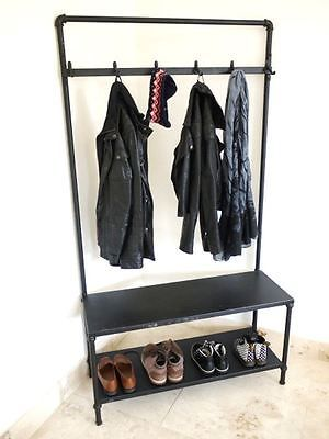Industrial Vintage Style Metal Hall Stand Coat Shoe Clothing Rack