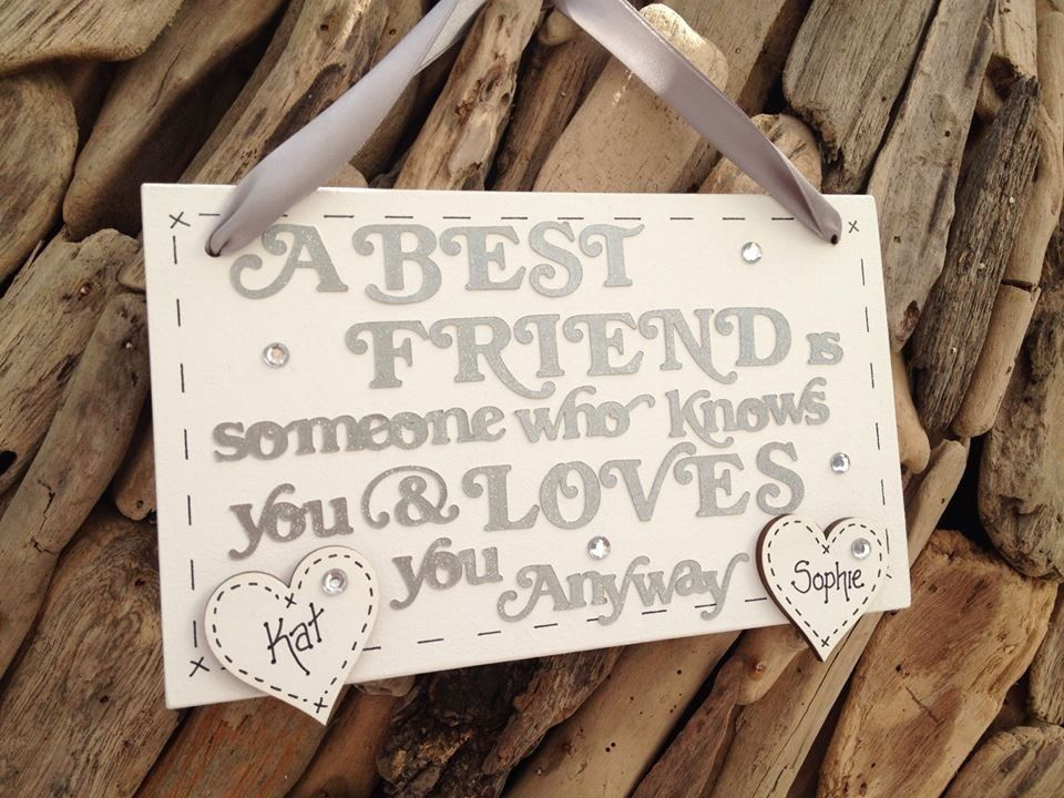 Best friend personalised plaque sign personalised hearts