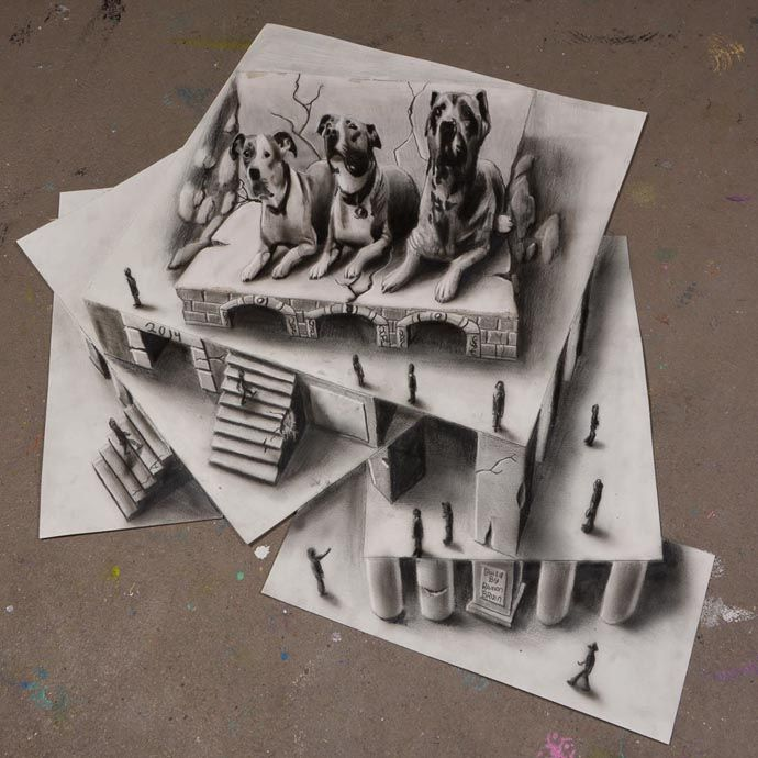 Illusion Drawing Of Dogs On The Roof Illusion Drawings Amazing - 29 incredible examples 3d pencil drawings