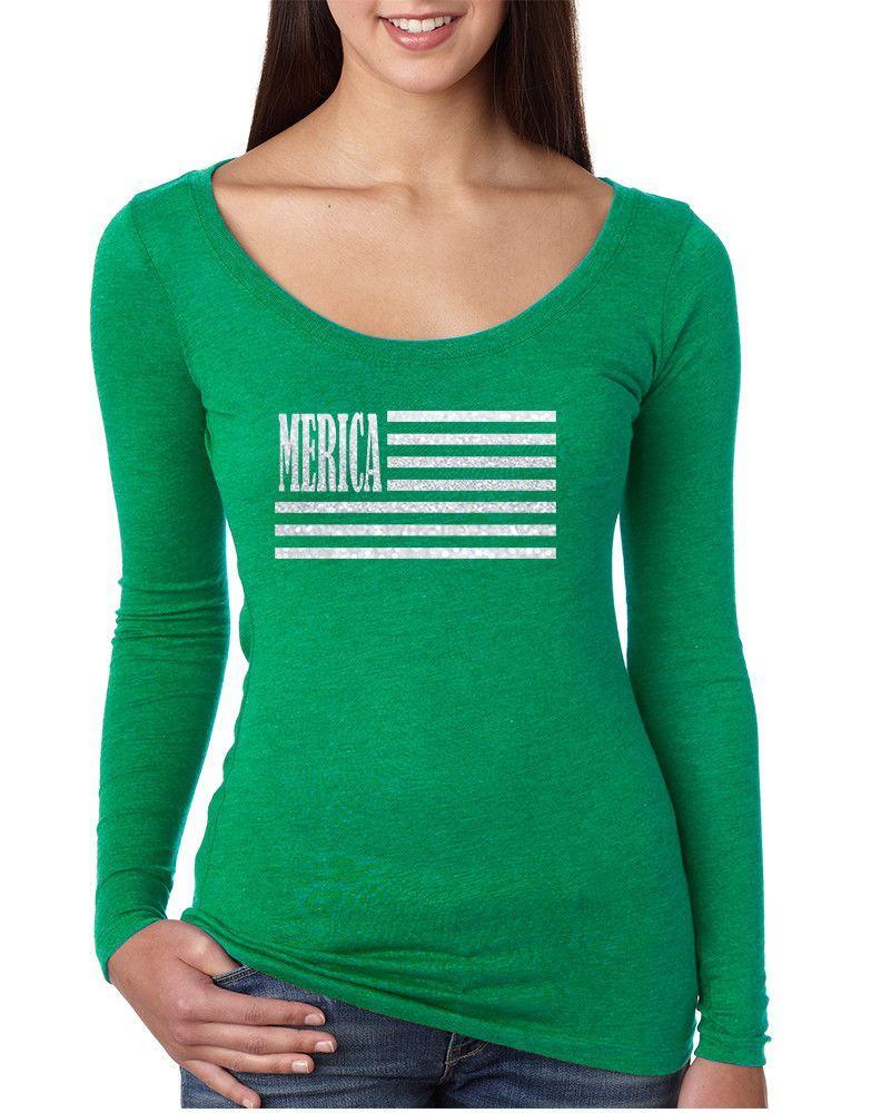 Women's Shirt Merica Glitter White Flag 4th Of July Shirt