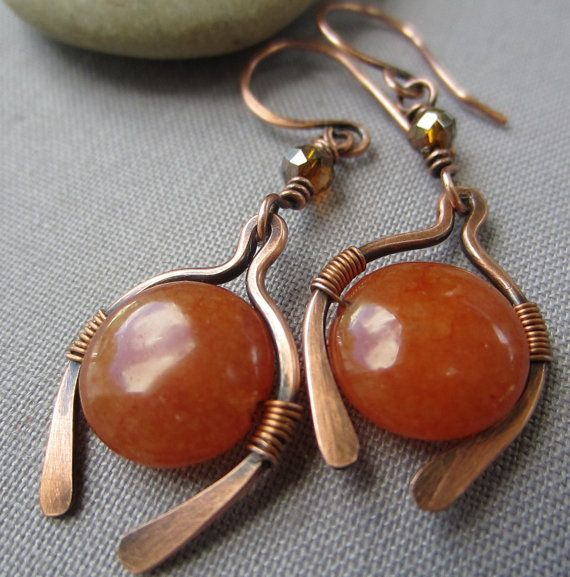 Copper Wire Earrings with Orange Quartzite/ Copper Dangle Earrings ...