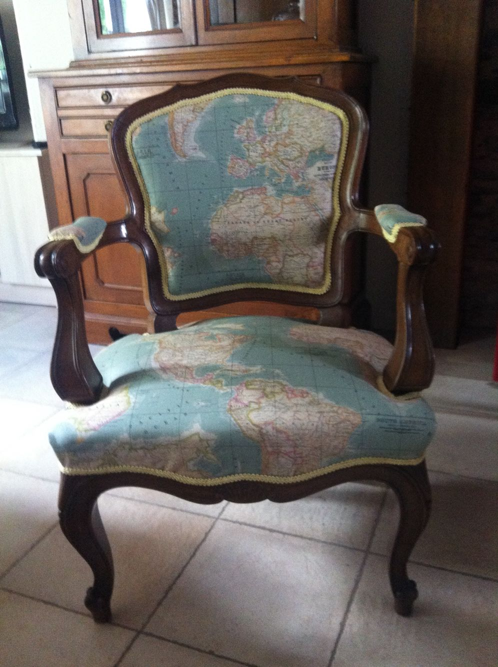 Voltaire armchair reupholstered in annie sloan world map fabric voltaire armchair reupholstered in annie sloan world map fabric gumiabroncs Image collections