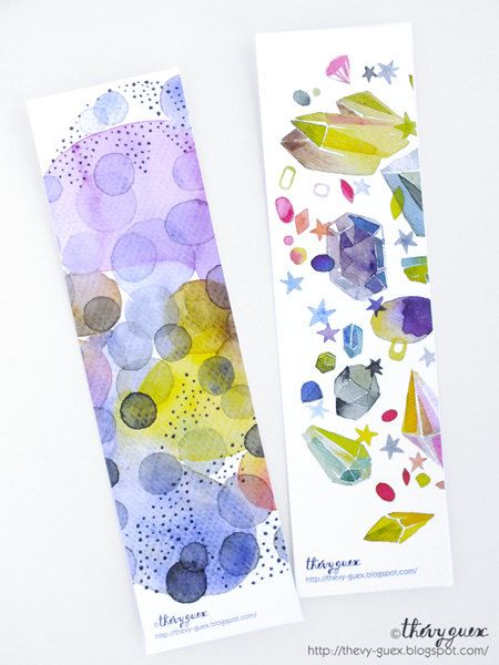 Abstract Dot Paper Bookmarks Gemstone Rock Watercolor Bookmarks