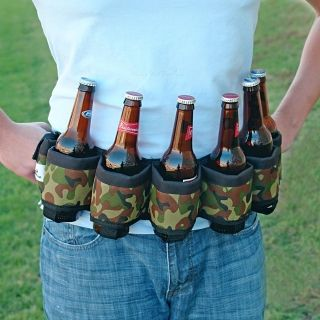 Beer And Soda Can Holster Belt Camo 6 Pack Best Belt Tailgate BBQ Funny Gag Gift