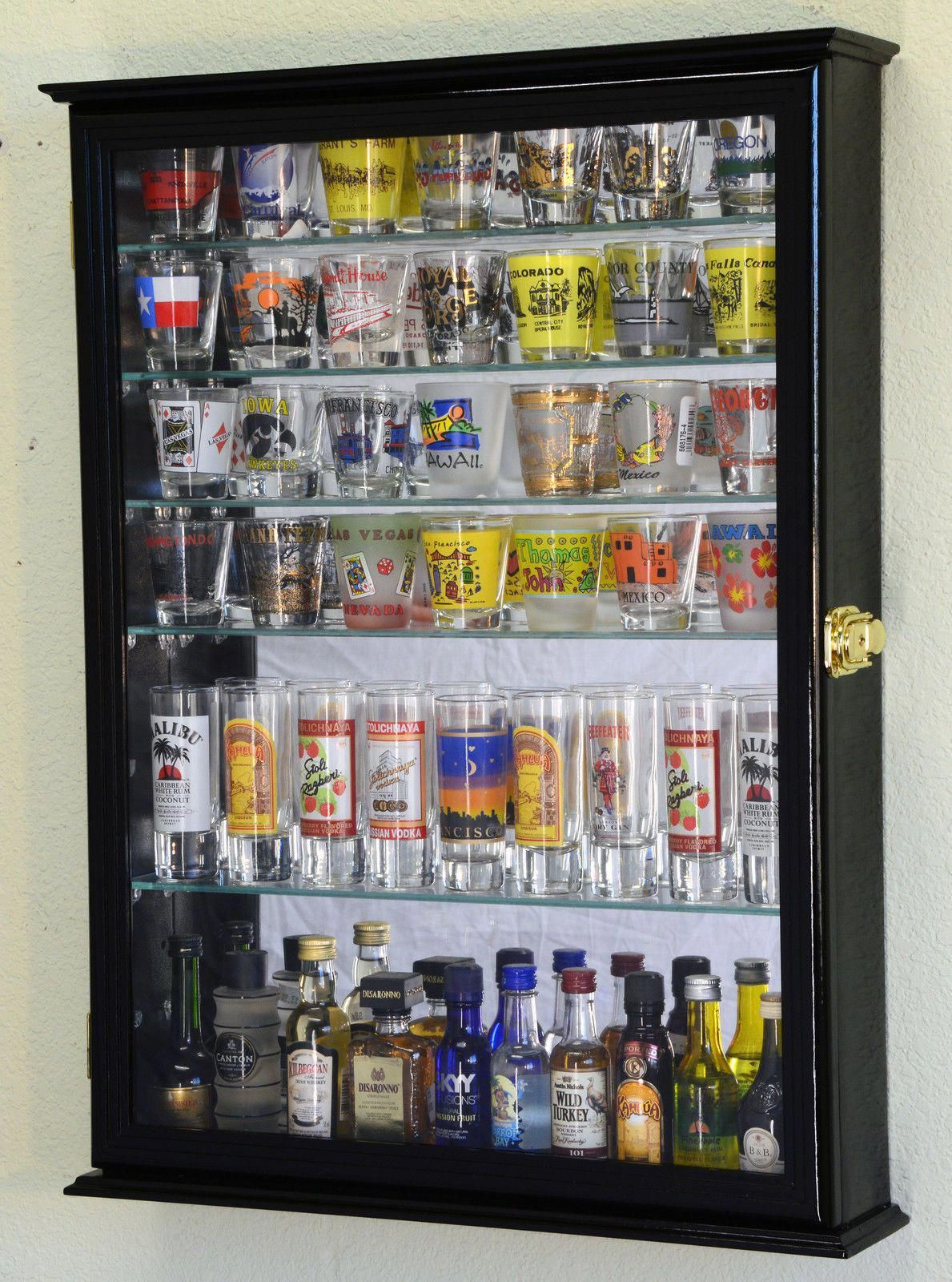 Details About L Shot Glass Shooter Display Case Cabinet