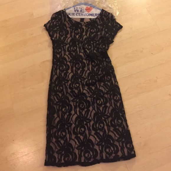 Bobeau black lace dress Gorgeous black lace with soft taupe lining. Great condition. Worn once and dry cleaned bobeau Dresses