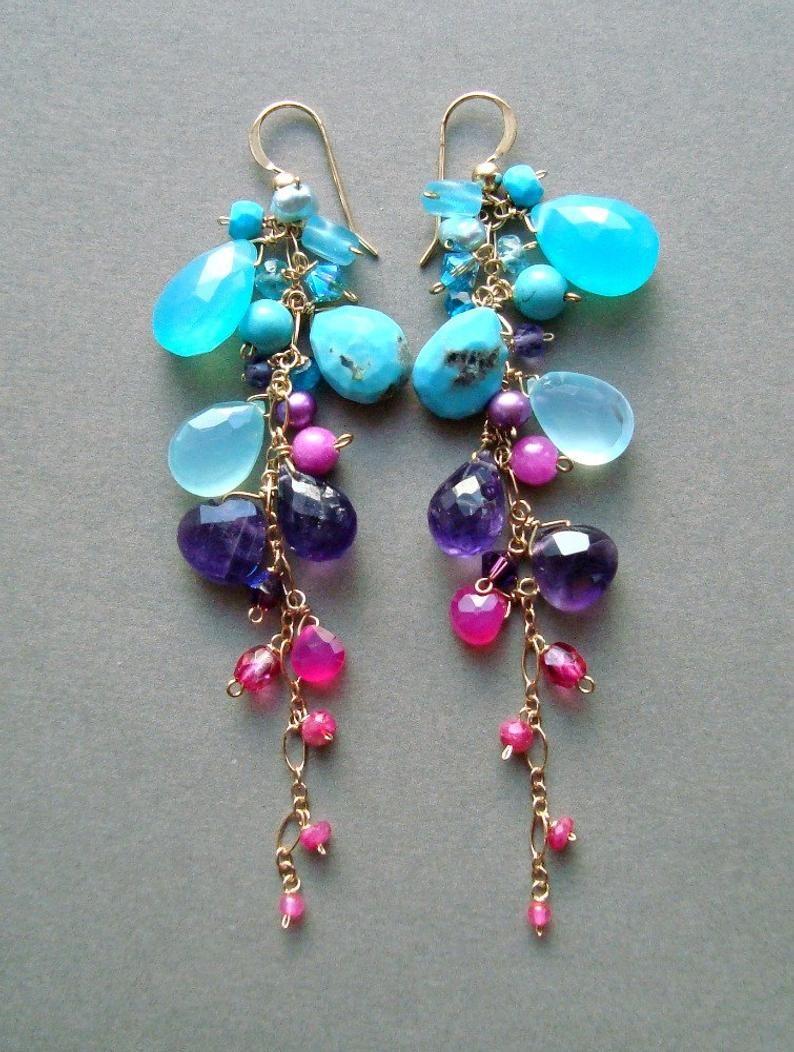 Colorful Gemstone Dangle Earrings, Aqua Purple Cluster Dangle, Bright Gemstone Earrings