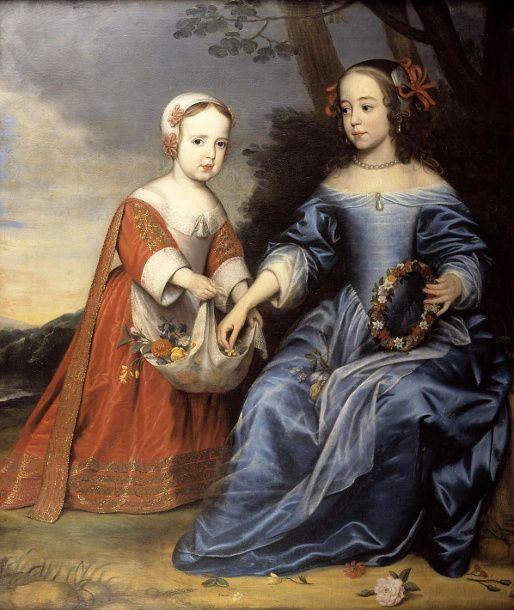 Gerrit van Honthorst, Portrait of prince William III of Orange and his aunt Maria of Orange, 1653 - Mauritshuis The Hague