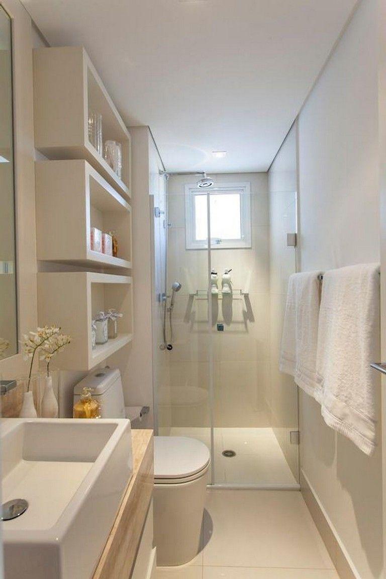 52 Exciting And Cool Ideas For Bathroom Storage Cabinet Small Narrow Bathroom Bathroom Design Small Tiny House Bathroom