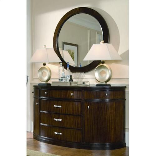 Large round mirror above the dining room buffet. | Elegant ...