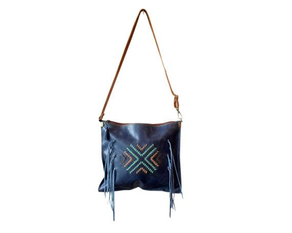 Crossbody bag leather cross body purse blue leather by Percibal