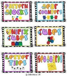 manipulatives labels | School Stuff | Classroom labels