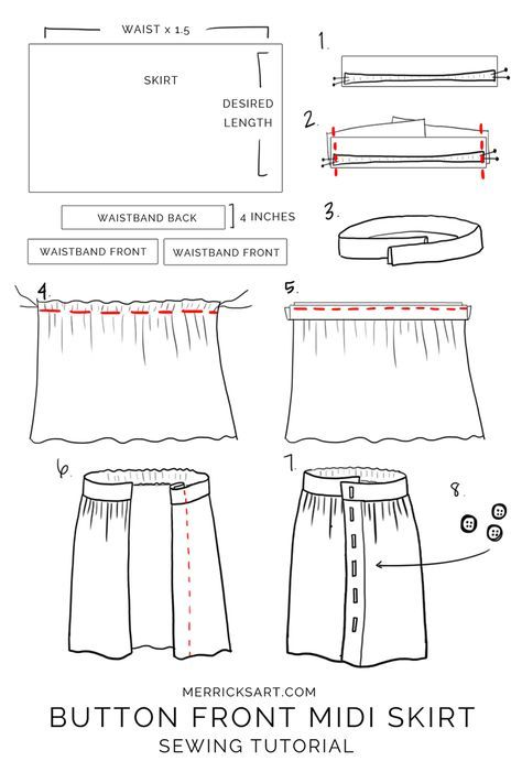 How to Make a Button Front Midi Skirt