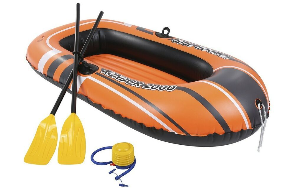 Inflatable Raft Boat Dingy 2 Oars Foot Pump Blow Up Set