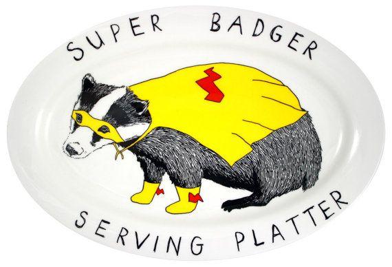 Super Badger Serving Platter by jimbobart on Etsy, £75.00