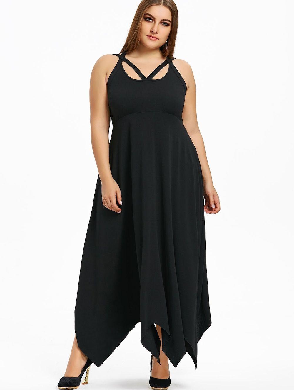 Plus size empire waist maxi handkerchief dress plus size clothes