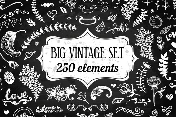 250 Elements - Big Vintage Set by Qilli Design on Creative Market