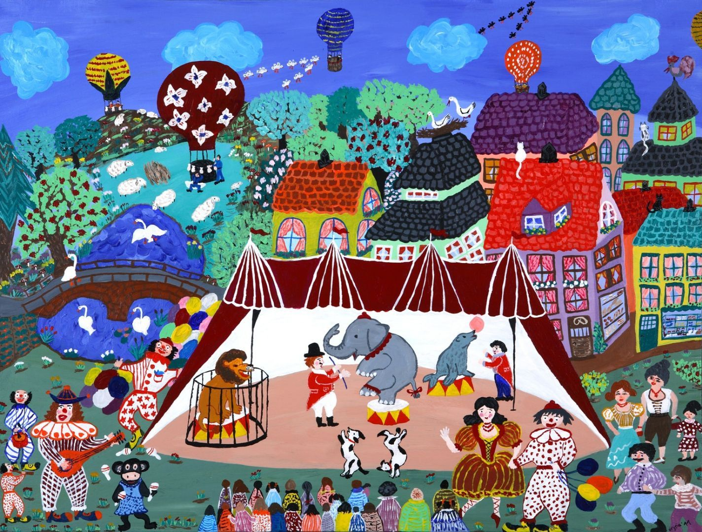 Danske+naivister+-+Krystyna+Svendsen+-+Cirkus+i+byen 60x80