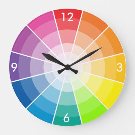 Color Wheel Light Large Clock Zazzle Com In 2020 Large Clock Clock Color Wheel