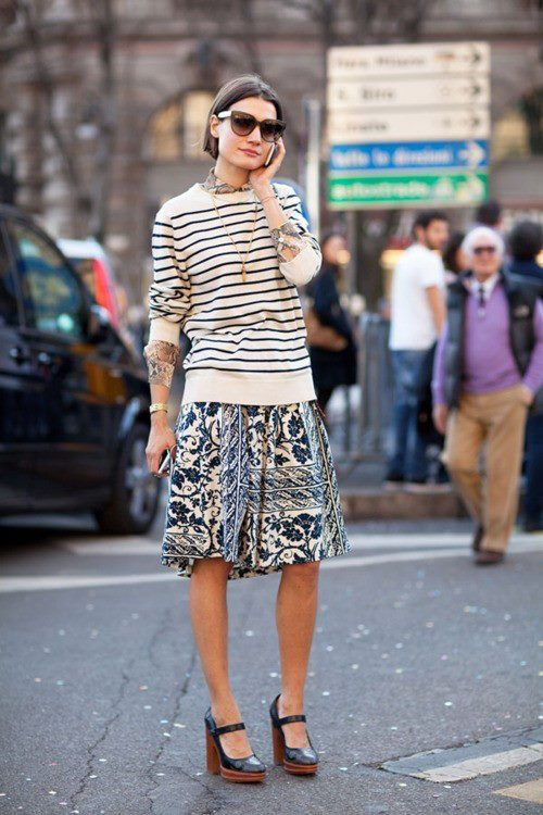 Stripes And Midi Skirt
