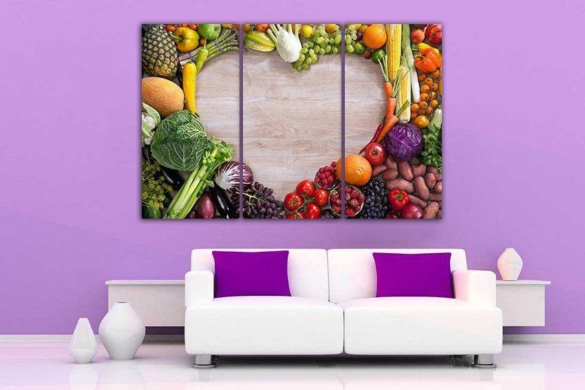 Vegetable Canvas Fruit Decor Love Food Kitchen Decor Healthy Food