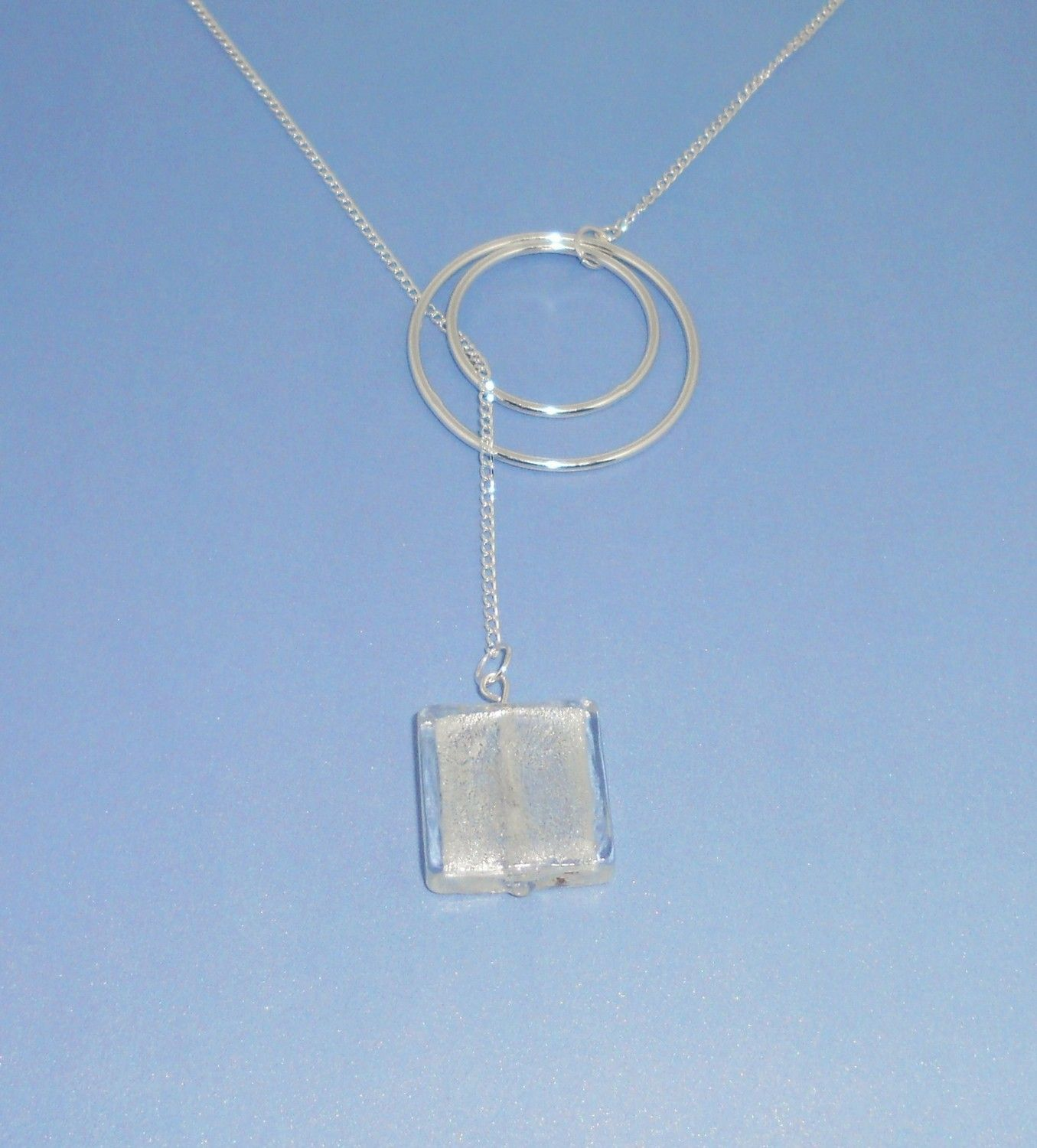Silver Double Hoop with Wire Wrapped Stone Lariat Necklace - 18 ...