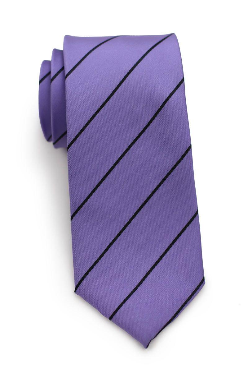 Pantone Color Match For Custom Necktie In Purple And Black Stripe
