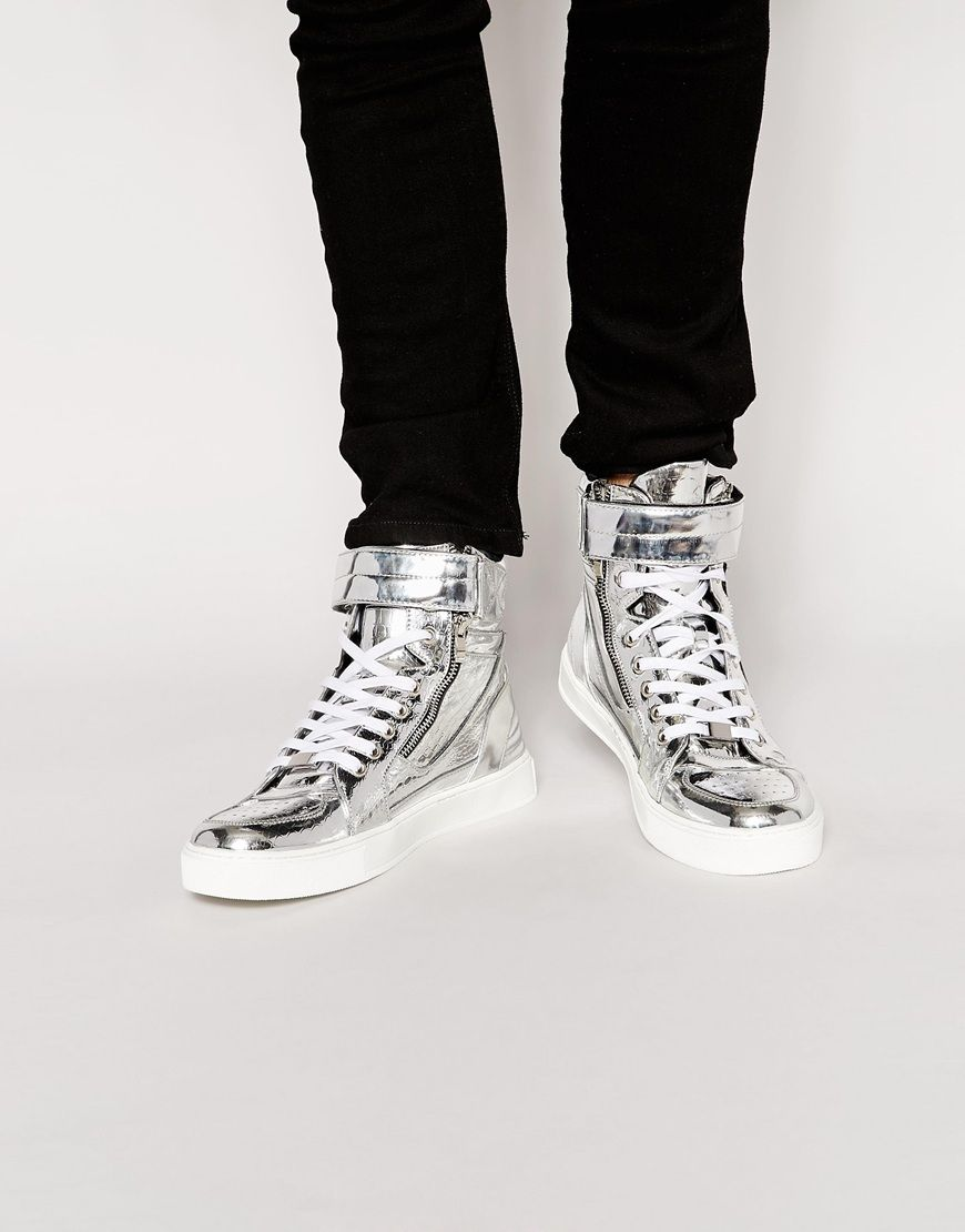 ASOS High Top Sneakers With Snakeskin Effect
