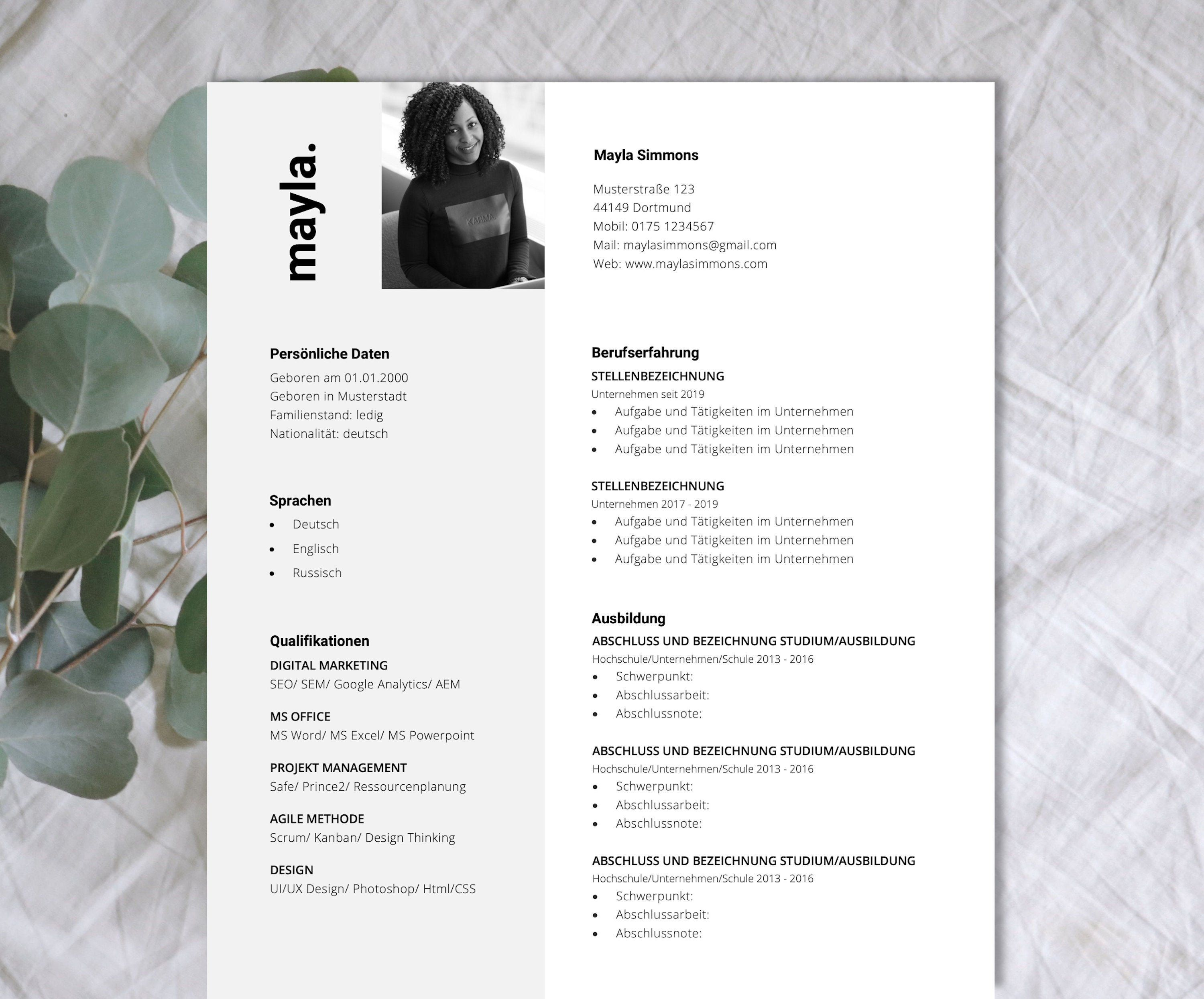 Application Template English Cover Page Cover Letter Cv And Attachment Directory For Word And Pages Mayla Lebenslauf Moderner Lebenslauf Deckblatt