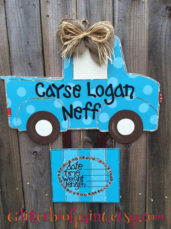 Personalized truck door hanger with birth by GlitterBitofPaint