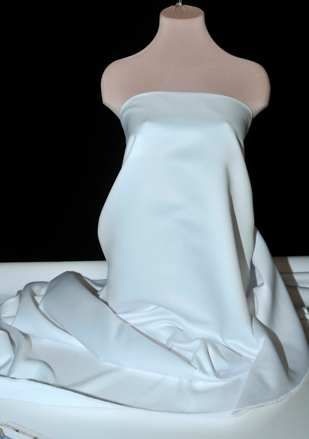 """WHITE Heavy Matte Satin.. 60"""" wide.. poly...Wedding gown, bridal, formal, pageant, suits , home decor..wedding...crafts..doll clothing"""