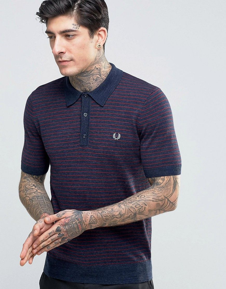 Image 1 ofFred Perry Knitted Polo Shirt With Stripe In Vintage Navy Marl